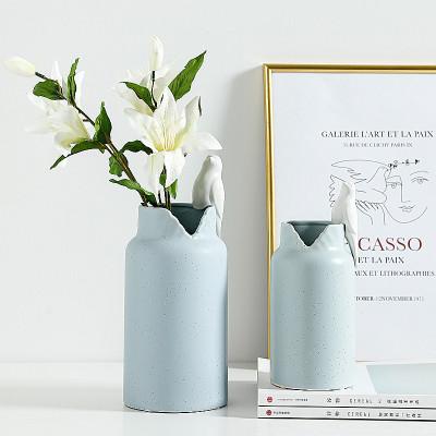现代简约小鸟陶瓷花瓶花器北欧装饰品摆件客厅电视柜花插