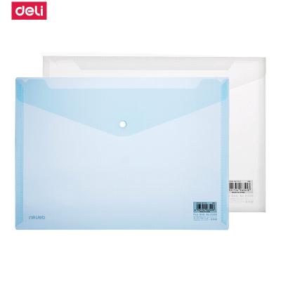 得力(deli)8308文件袋A4透明塑料文件袋按扣紐扣信封軟公文袋資料文件袋防水 10個裝