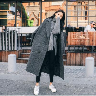 無畏衣衣2020新款女春裝韓版中長款網紅女士大衣寬松過膝呢子格子毛呢大衣女外套