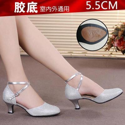 因樂思(YINLESI)2020新款時尚舒適簡約百搭廣場拉丁舞鞋女中跟舞蹈鞋女廣場舞鞋跳舞鞋子軟底