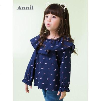 安奈兒女小童襯衣長袖舒適時尚領春裝新款洋氣潮童休閑上衣
