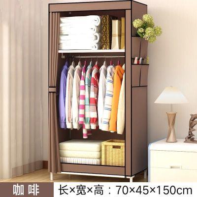 简易衣柜学生宿舍单人小衣橱置物整理收纳柜经济型钢管加粗布衣柜-咖啡