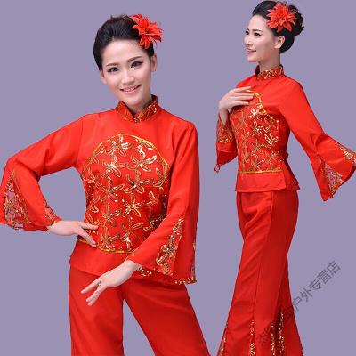 因樂思(YINLESI)2018新款東北民族舞蹈紅色秧歌舞服裝扇子舞演出服女腰鼓舞廣場舞 大紅色雞爪送頭花