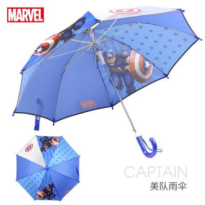 迪士尼(Disney)兒童傘男女學生長柄傘半自動睛雨傘 美國隊長雨傘 漫威兒童雨傘