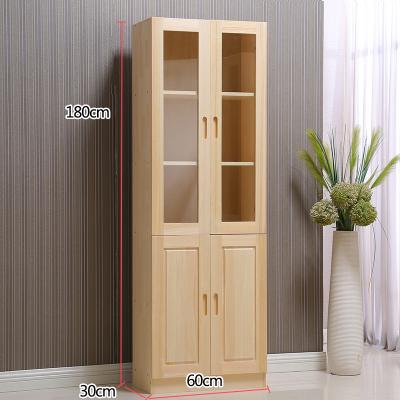 書架落地書柜置物架閃電客家用帶玻璃書櫥松木兒童收納儲物柜 180*60玻璃門款 0.6-0.8米寬