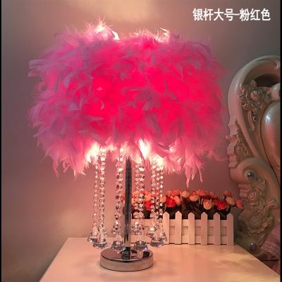 CIAA創意水晶羽毛臺燈遙控調光臺燈臥室床頭燈生日婚慶裝飾簡約小臺燈 大號水晶鉆(白色桿)桃紅色-LED 遙控開關
