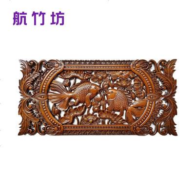 东阳木雕挂件挂画 香樟木雕画壁挂中式雕刻工艺品横屏长方形挂屏