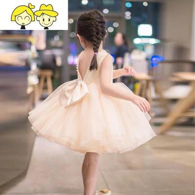 女童儿童礼服宝宝周岁连衣裙公主裙蓬蓬纱裙生日主持钢琴表演出服  绿彩虹光