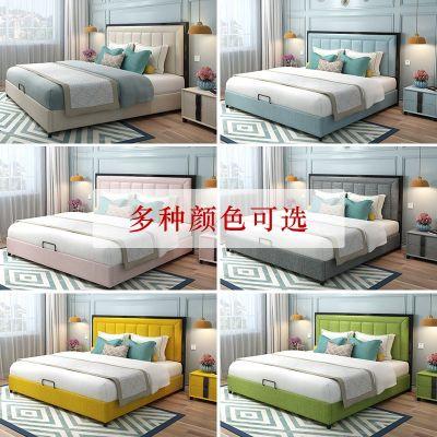 梦引 北欧轻奢布艺床ins网红床现代简约婚床美式布床主卧双人床软床