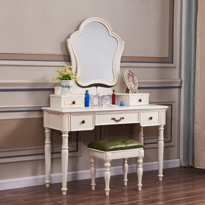 A家家具梳妝桌 美式鄉村梳妝臺小戶型歐式化妝臺迷你臥室家具白色木質網紅化妝桌其他XM014