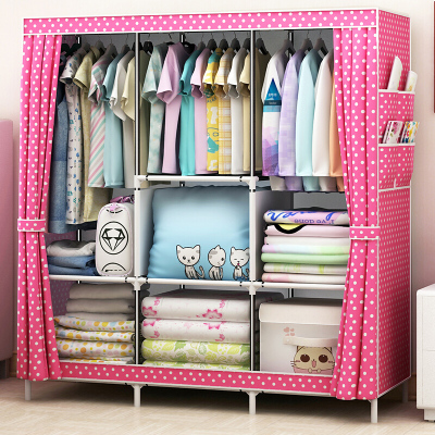 家时光 金属简易布衣柜加固加厚简易不锈钢衣柜橱钢架无纺布双人衣橱