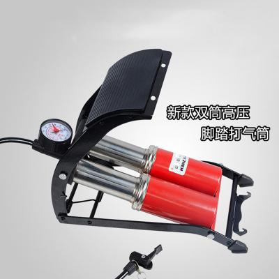 自行車小汽車打氣筒魅扣便攜式藍球腳踩充氣筒高壓省力氣筒