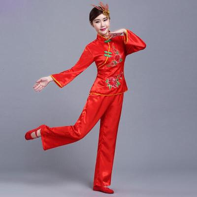 秧歌舞服蘋果花刺繡中老年廣場舞腰鼓扇子舞蹈演出服裝民族舞