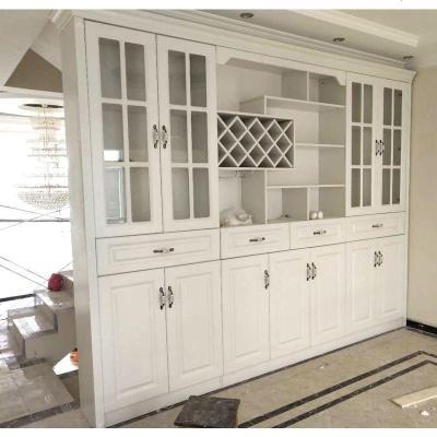 顧致歐式現代簡約酒柜客廳單面靠墻定制整體玄關柜隔斷柜玻璃餐邊柜