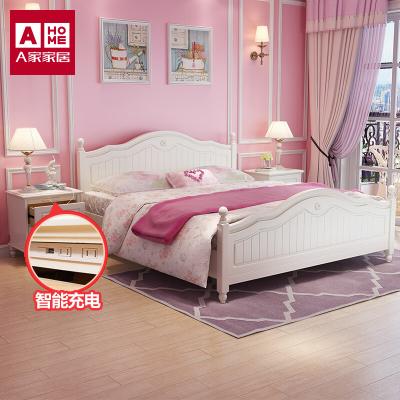 A家家具床 韓式田園歐式公主床1.8米簡約現代1.5婚床主臥雙人床架子床板式床兒童床臥室家具木質其他HS001