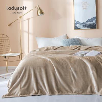 ladysoft御棉堂 法兰绒纯色毛毯150*200/180*200cm双人盖毯午睡毯空调毯春夏盖毯床上用品