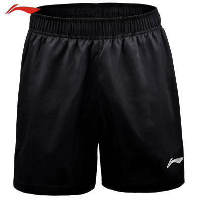 李寧(LI-NING)短褲羽毛球服運動健身服 速干運動服 AKSN721-1 黑色