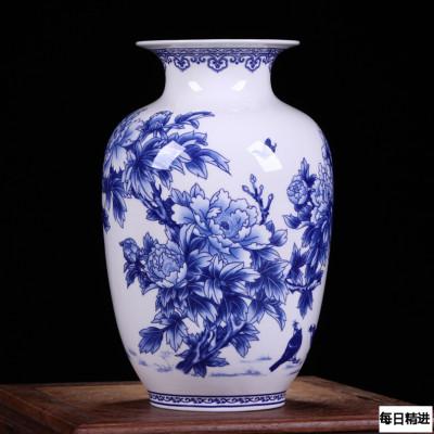 每日精進 景德鎮陶瓷器青花骨瓷榮華富貴花瓶 家居裝飾花瓶工藝品擺件 冬瓜瓶