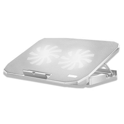 酷睿冰尊 笔记本散热垫14-17.6寸笔记本手提电脑降温底座冷风排风扇支架垫静音N106散热垫 白色豪华版 凯辛
