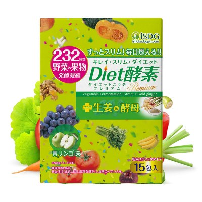 ISDG 日本进口diet酵素粉末孝素232种果蔬发酵 青苹果味 15支装