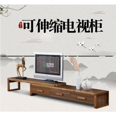 航竹坊 中格簡約新現代實木橡木廳柜小戶型伸縮地柜迷你中式組合電視機柜