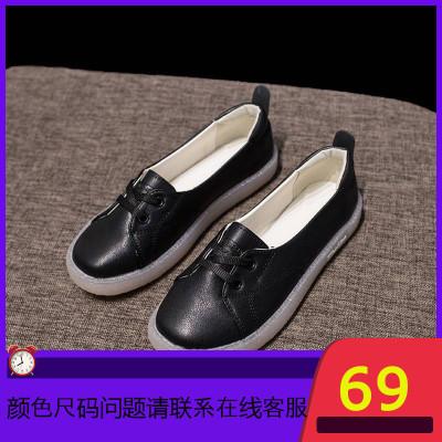 平底单鞋女2019秋季新款百搭一脚蹬奶奶鞋孕妇女鞋软底护士鞋