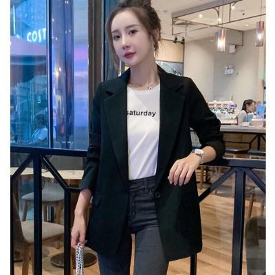 雪千羽chic黑色西裝女韓版2020休閑新款修身百搭小西服中長款外套職業裝