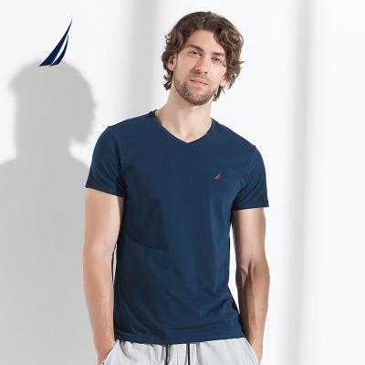 诺帝卡/Nautica新款精梳棉纯色T恤男士修身简约短袖上衣打底衫