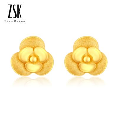 ZSK珠寶 玫瑰花黃金耳飾 黃金耳針 黃金耳釘 耳鉤 耳飾 足金999通用 女士自戴