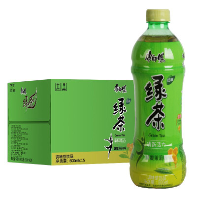 康師傅綠茶500ML*3瓶蜂蜜綠茶茉莉味茶飲料勁涼速食水飲料橙汁夏日特飲 綠茶三瓶
