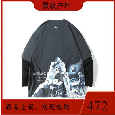 GUUKA深灰假兩件長袖T恤男潮牌 學生嘻哈運動后背大印花長T恤寬松 商品有多個顏色,尺寸,規格,拍下備注規格