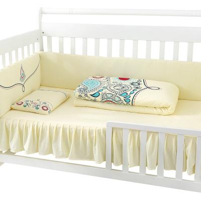 龍之涵【LONGZHIHAN】 純棉嬰兒床品套件全棉 嬰兒床上用品套件寶寶床圍手工棉花7件套 110*65cm