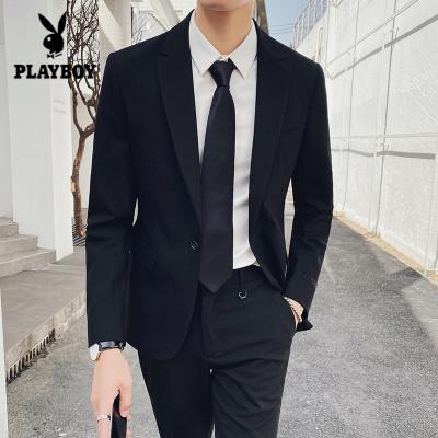 花花公子 ( PLAYBOY ICON )西服套裝男2019年新款男士兩件套商務正裝職業西裝結婚伴郎禮服
