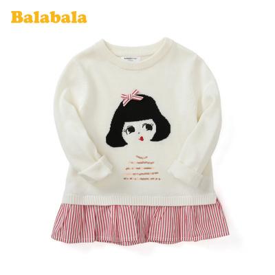 巴拉巴拉童裝女童毛衣2020新款春季兒童針織衫小童寶寶假兩件純棉