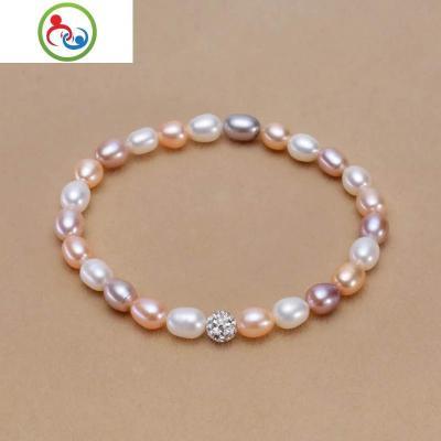 天然淡水珍珠手鏈簡約女款皮筋鉆球款瑪瑙玉石隔鉆風格珍珠手鏈 JING PING
