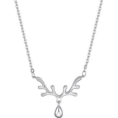 周大生銀飾項鏈女新款s925銀小鹿套鎖骨鏈吊墜