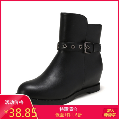 鞋柜冬新款粗跟加絨短靴皮帶扣中低跟圓頭百搭女鞋1717607040