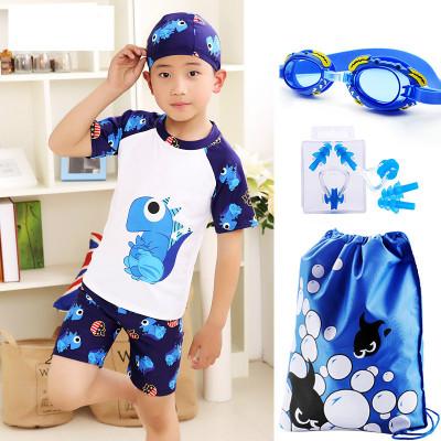 兒童泳衣男童泳褲游泳鏡套裝男孩分體小中大童小恐龍游泳衣