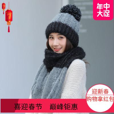 2019帽子围巾套装冬季女保暖毛线帽可爱加绒加厚二件套韩版百搭针织帽