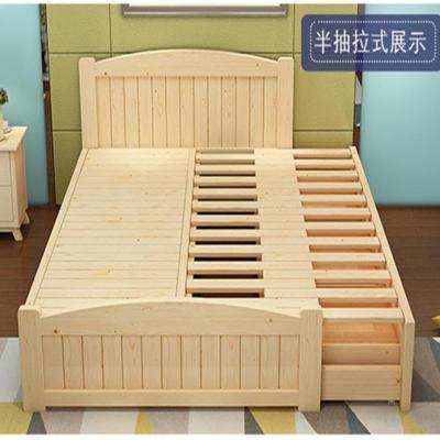 純實木 伸縮床 抽拉床 單人雙人床抽拖床 推拉床 子母床兩用 棕墊(2個組合) 1000mm*2000mm框架結構