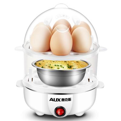 AUX/奧克斯煮蛋器雙層蒸蛋器自動斷電迷你煮雞蛋器蒸蛋羹機暖奶器學生宿舍煮蛋機早餐機熱牛奶器小型家用早餐神器