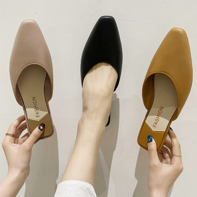 女鞋2020夏季新品尖頭粗跟奶奶鞋包頭半拖鞋女韓版休閑百搭涼拖鞋女網紅懶人穆勒女鞋