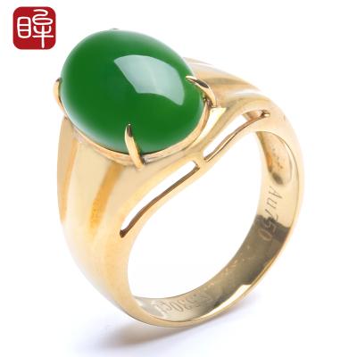 印象眸 金镶玉和田玉碧玉戒指镶18k金男士扳指男戒指环