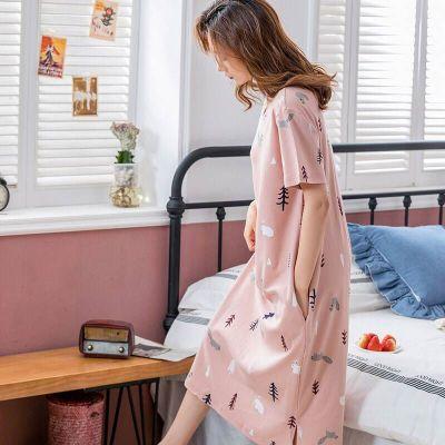 睡衣女夏韓版睡衣女夏季睡裙短袖女士夏天家居服套裝學生可愛大碼 莎丞