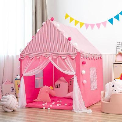 兒童秘密基地小屋帳篷游戲屋室內公主女孩城堡男孩小房子睡覺分床神器 條紋紅小屋+棉墊送線球燈+彩旗