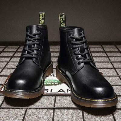 冬季黑色孔dr马丁靴男英伦机车靴中帮工装靴潮男靴皮靴男鞋