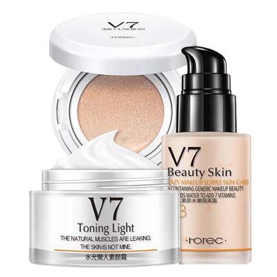 韩婵彩妆套装组合化妆品三件套装V7素颜霜气垫BB霜隔离霜组合日常彩妆自然裸妆