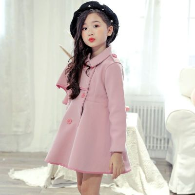 女童呢子大衣外套秋冬2019新款韩版中大童长款加绒厚毛呢外套 莎丞