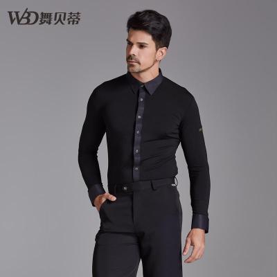 舞贝蒂男士舞蹈服装新款练功上衣国标摩登拉丁跳舞服成人表演衬衫 黑色长袖衬衫(精品) S