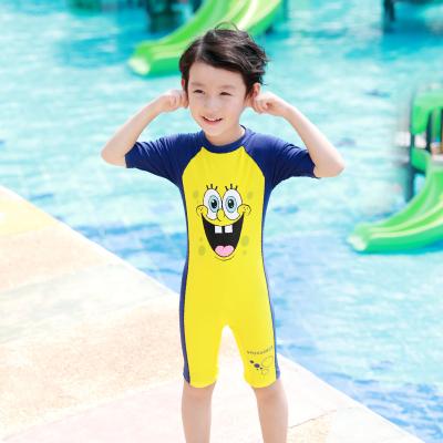 佑游 男童女童连体泳衣可通卡海绵宝宝速干游泳衣学生中小儿童泳装